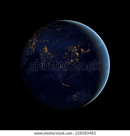 City lights from space,Elements of this image are furnished by NASA - stock photo