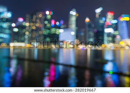 City lights night view, blur bokeh photo  - stock photo
