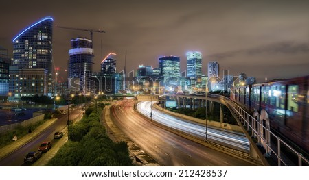 City lights of Canary Wharf, london, United kingdom - stock photo