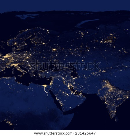 City lights Of Middle East And Europe ,Elements of this image are furnished by NASA - stock photo