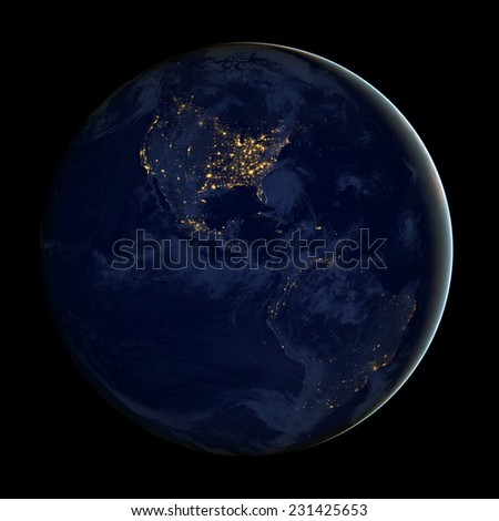 City lights Of USA From Space,Elements of this image are furnished by NASA - stock photo