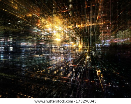 City Lights series. Arrangement of technological fractal textures on the subject of science, technology, design and imagination - stock photo