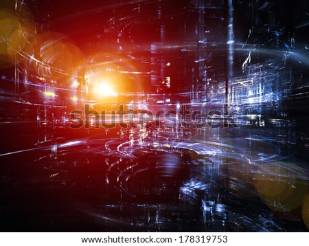 City Lights series. Artistic background made of technological fractal textures for use with projects on science, technology, design and imagination - stock photo