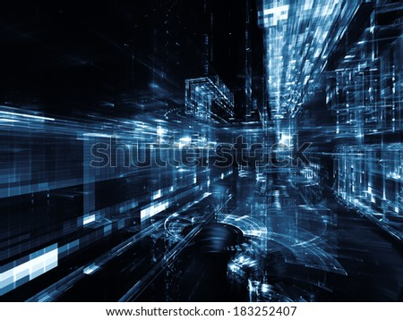 City Lights series. Backdrop composed of technological fractal textures and suitable for use in the projects on science, technology, design and imagination - stock photo