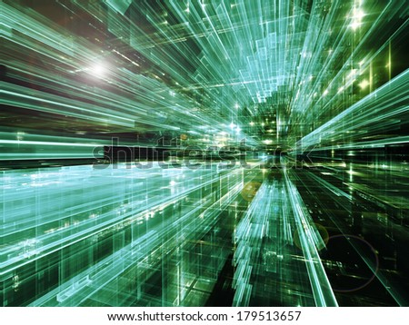 City Lights series. Creative arrangement of technological fractal textures to act as complimentary graphic for subject of science, technology, design and imagination - stock photo
