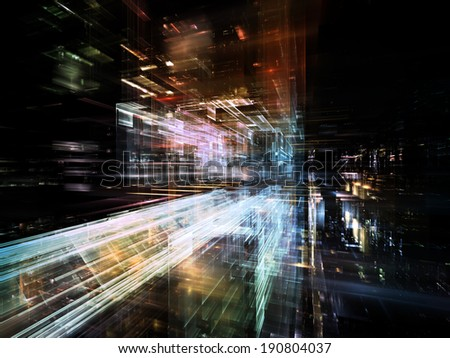 City Lights series. Interplay of technological fractal textures on the subject of science, technology, design and imagination - stock photo