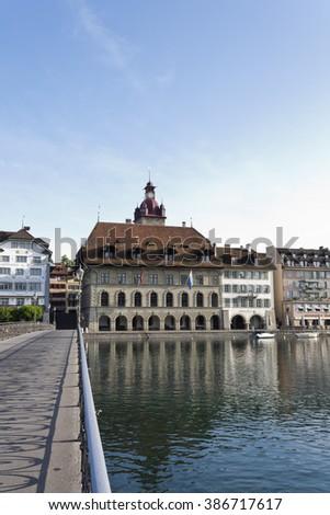 City Lucerne old town Switzerland POI - Rathaus Luzern - stock photo