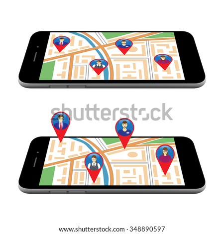 City map on the screen of the mobile device. Social Networks. Social Media. Global communication. - stock photo