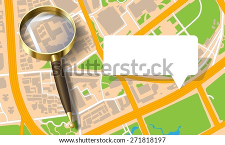 city map with a magnifying glass - stock photo