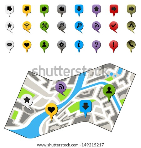 city map with labels - stock photo