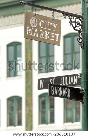 City Market sign on lamppost in Historic District of Savannah - stock photo