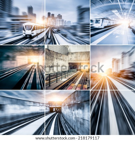 City Metro Rail collage - stock photo