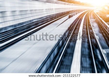 City Metro Rail,motion blur - stock photo