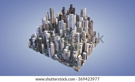 city model 3d rendering - stock photo