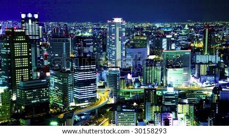 city night sky view - stock photo