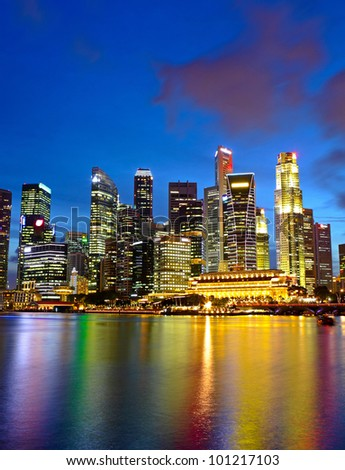 city night view for singapore - stock photo