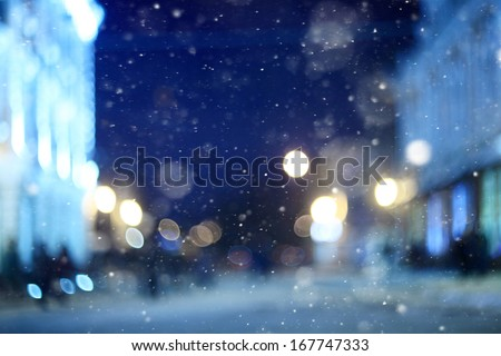 city �¢??�¢??night winter snow blurred background - stock photo