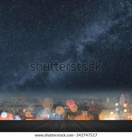 City night with stars heaven and nobody. - stock photo
