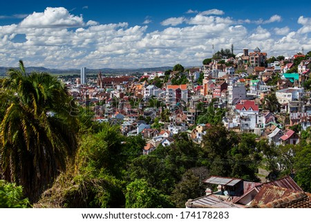 City of Antananarivo at sunny day with fluffy clouds in the sky. Madagascar - stock photo