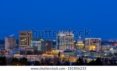 City of Boise at night with deep blue sky - stock photo