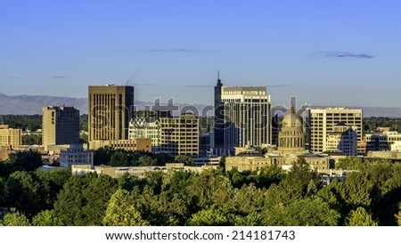 City of Boise Idaho skyline in the early morning - stock photo