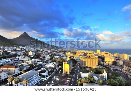 City of Cape Town, South Africa. Cape Town is the second largest city in South Africa and is the capital of the Western Cape Province. - stock photo