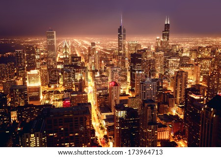 City of Chicago. Aerial view of Chicago downtown at nigh from high above. - stock photo