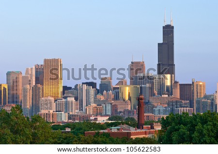 City of Chicago. Aerial view  of Chicago downtown at sunset from high above. - stock photo