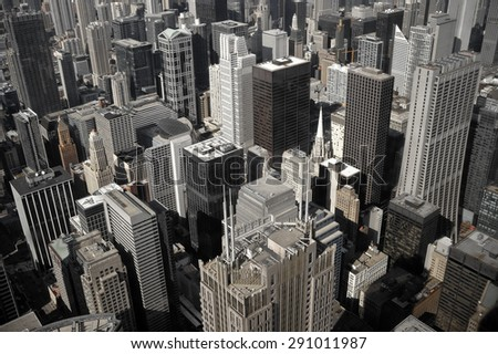 City of Chicago. Aerial view of Chicago downtown, vintage filter - stock photo