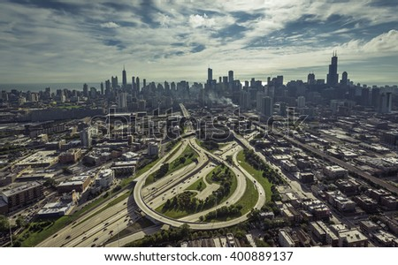 City of Chicago aerial view with streets leading to Downtown - stock photo
