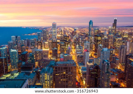 City of Chicago. Image of Chicago downtown  USA - stock photo