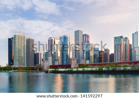 City of Chicago USA,   colorful sunset panorama skyline of downtown with business buildings - stock photo