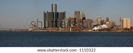 City of Detroit Panorama - stock photo