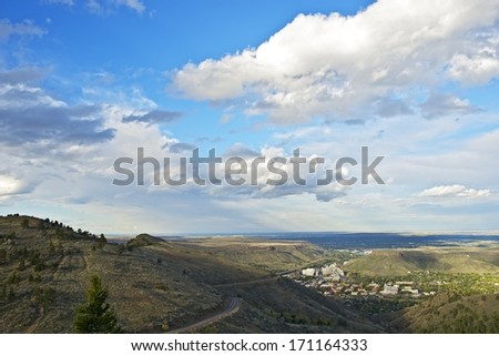 City of Golden - View From Lookout Mountain. Fall in Golden, Colorado, USA.  - stock photo