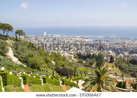 City of Haifa in Israel from the Bahai Garden ,View to Sea and habor  - stock photo