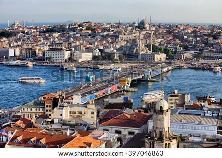 City of Istanbul in Turkey, cityscape, Galata Bridge over Golden Horn - stock photo