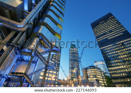 City of London at night.  - stock photo
