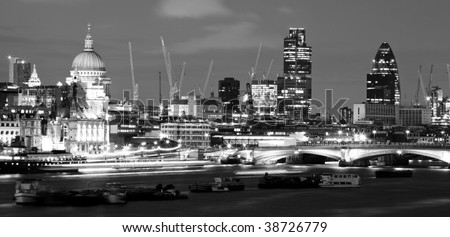 City of London at night, in black and white - stock photo