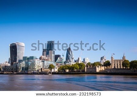 City of London, one of the leading centers of global finance.View includes Tower 42 Gherkin,Willis Building, Stock Exchange Tower Lloyd`s of London and Walkie Talkie - stock photo