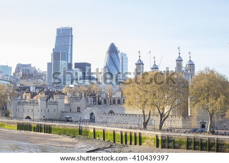 City of London, one of the leading centres of global finance, at sunset. View includes Tower 42 Gherkin,Willis Building, Stock Exchange Tower Lloyd`s of London and the Tower of London. - stock photo