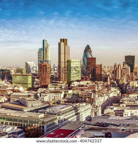 City of London one of the leading centres of global finance. This view includes Tower 42, Gherkin,Willis Building, Stock Exchange Tower, Lloyd`s of London. - stock photo