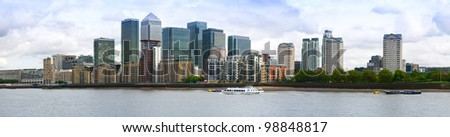 City of London, the leading centre of global finance. Panoramic view from Canary Warf - stock photo