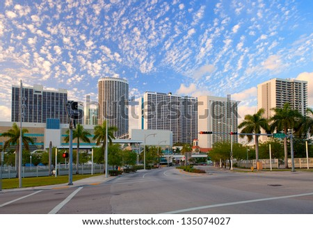 City of Miami Florida, colorful panorama of downtown business and residential buildings - stock photo