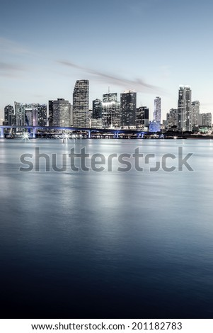 CIty of Miami, Florida, special photographic processing. - stock photo