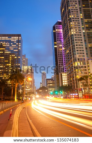 City of Miami Florida, traffic moving through downtown Brickell financial district - stock photo