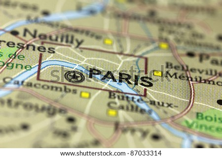 City of Paris in France on the Map. - stock photo