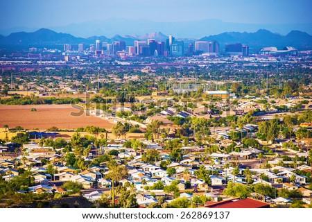 City of Phoenix Panorama. Phoenix, Arizona, United States. - stock photo