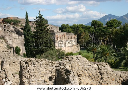 City of Pompeii, Italy.  Dates back to before 79AD. - stock photo