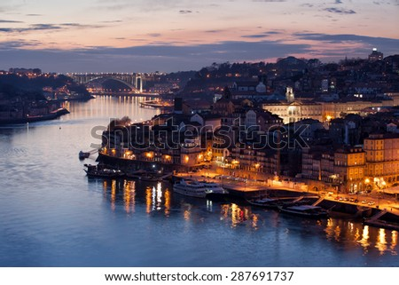 City of Porto in Portugal at dusk. - stock photo