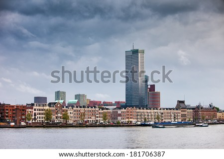 City of Rotterdam cityscape along New Meuse river in South Holland, the Netherlands. - stock photo